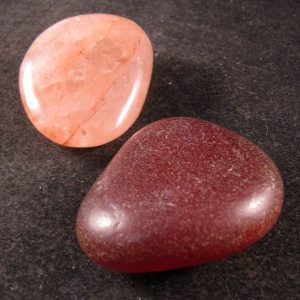 Carnelian & Hematoid Rose Quartz Pocket Rock Set