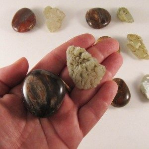 healing crystals pocket rocks petrified wood green earth quartz