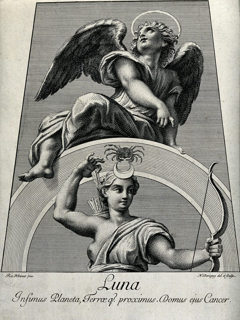 V0024874 Astronomy: Diana, as Moon goddess, an angel above looking he Credit: Wellcome Library, London. Wellcome Images images@wellcome.ac.uk http://wellcomeimages.org Astronomy: Diana, as Moon goddess, an angel above looking heavenward. Engraving by N. Dorigny, 1695, after Raphael, 1516. 1695 By: Raphaelafter: Nicolas DorignyPublished: 1695 Copyrighted work available under Creative Commons Attribution only licence CC BY 4.0 http://creativecommons.org/licenses/by/4.0/