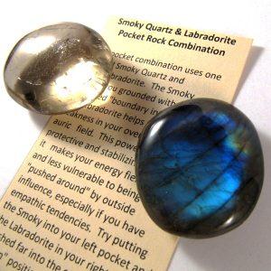 Labradorite and Smoky Quartz Pocket Rocks